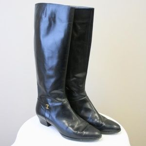 1980s Salvatore Ferragamo Black Tall Boots
